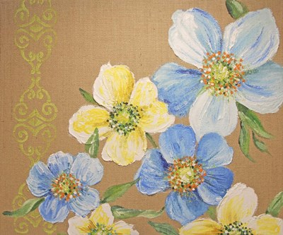 Spring Florals On Burlap - A Poster by Jean Plout for $31.25 CAD