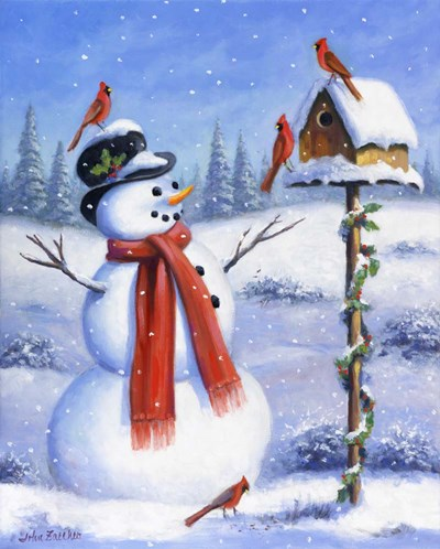 Snowman & Cardinals Poster by John Zaccheo for $40.00 CAD