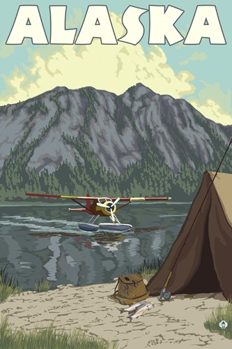 Alaska Plane Lake Campsite Poster by Lantern Press for $102.50 CAD