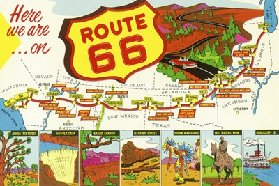Route 66 Here We Are Poster by Lantern Press for $102.50 CAD