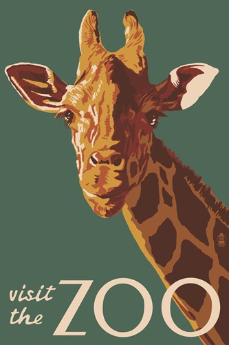 Visite The Zoo Giraffe Poster by Lantern Press for $102.50 CAD