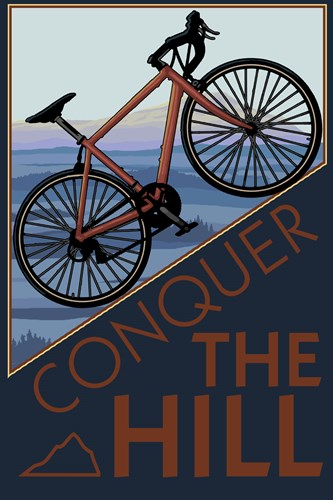 Conquer The Hill Bicycle Ad Poster by Lantern Press for $102.50 CAD