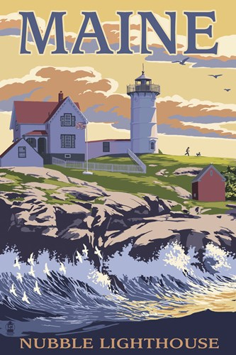 Nubble Lighthouse Ad Poster by Lantern Press for $102.50 CAD