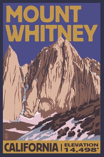 Mount Whitney Elevation Poster by Lantern Press for $102.50 CAD