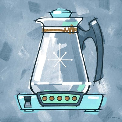 Blue On Blue Coffee Pot Poster by Larry Hunter for $41.25 CAD