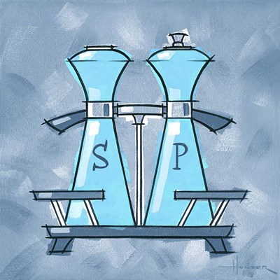 Blue On Blue Salt And Pepper Poster by Larry Hunter for $41.25 CAD