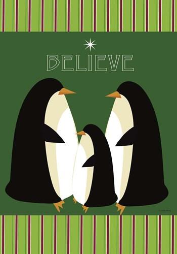 I Believe Penguins Flag Poster by Leslie Wing for $51.25 CAD