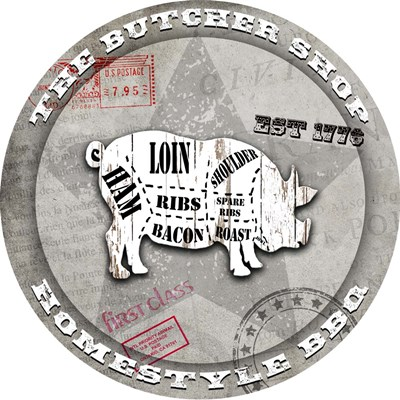 American Butcher Shop Round Pig Poster by LightBoxJournal for $48.75 CAD