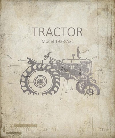 Industrail Farm Tractor Blue Print 2 Poster by LightBoxJournal for $50.00 CAD