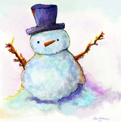 Snowman In Sunset Poster by Lisa Katharina for $48.75 CAD