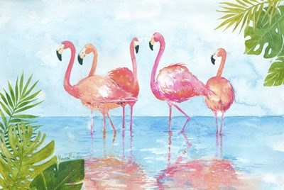 Flamingos And Leaves Poster by Marietta Cohen for $38.75 CAD