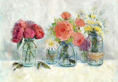 Flowers In Mason Jars Poster by Marietta Cohen for $40.00 CAD