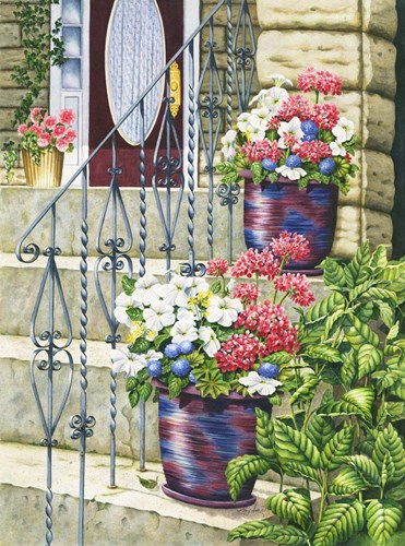 Butchart Gardens Steps Poster by Mary Irwin for $41.25 CAD