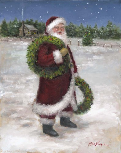 Santa with Two Wreaths Poster by Mary Miller Veazie for $40.00 CAD