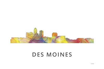 Des Moines Iowa Skyline Poster by Marlene Watson for $43.75 CAD