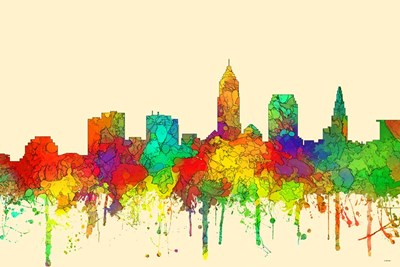 Cleveland Ohio Skyline-SG Poster by Marlene Watson for $43.75 CAD