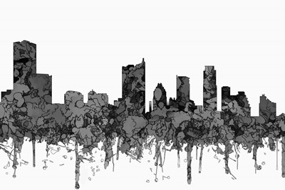 Austin Texas Skyline - Cartoon B&W Poster by Marlene Watson for $43.75 CAD