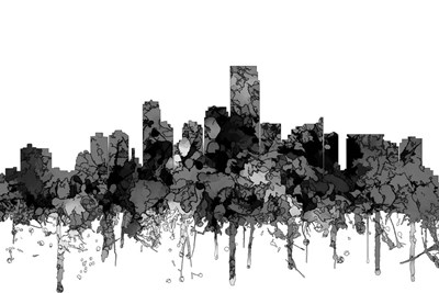 Jersey City New Jersey Skyline-  Cartoon B&W Poster by Marlene Watson for $43.75 CAD