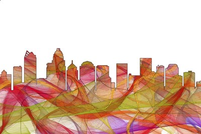 Charlotte NC Skyline - Summer Swirl Poster by Marlene Watson for $43.75 CAD