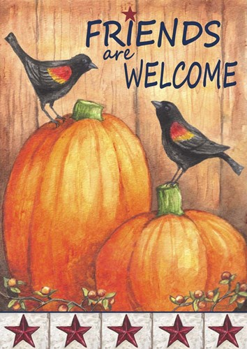Pumpkin Blackbird Friends Welcome Poster by Melinda Hipsher for $42.50 CAD