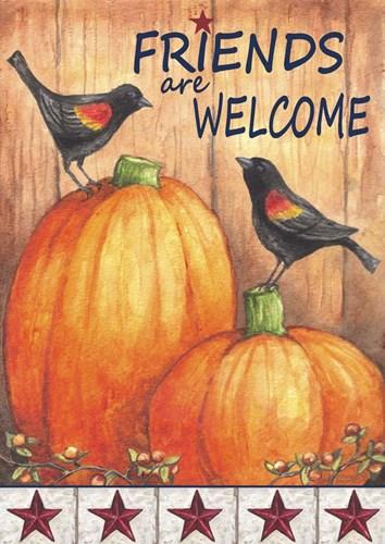 Pumpkin Blackbird Friends Welcome Poster by Melinda Hipsher for $42.50 CAD