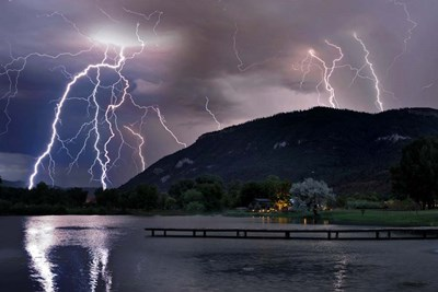 Lightning Campground Poster by Mike Jones Photo for $43.75 CAD
