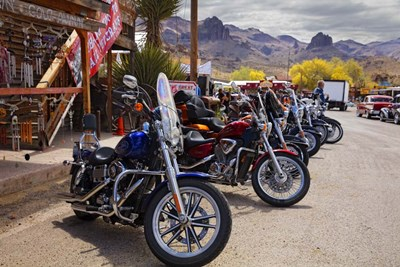 Rt 66 Fun Run Oatman Motorcycles Poster by Mike Jones Photo for $43.75 CAD