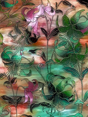 Aqua Sky Lillies Poster by Mindy Sommers for $41.25 CAD