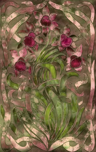 Art Nouveau Pink Floral Poster by Mindy Sommers for $45.00 CAD