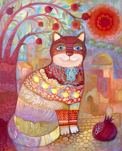 Cat With Pomegranate Poster by Oxana Zaika for $38.75 CAD