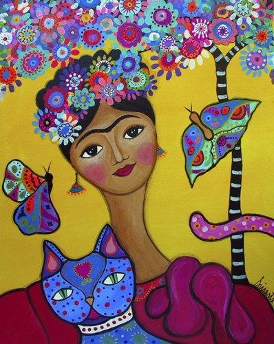 Brigit's Frida And Her Cat Poster by Prisarts for $40.00 CAD