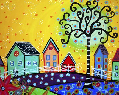 Farm Town 1 Poster by Prisarts for $42.50 CAD