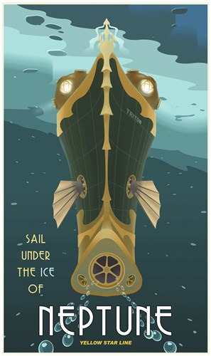 Sail Under The Ice Of Neptune Poster by Steve Thomas for $107.50 CAD