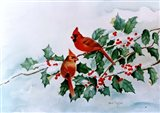 Cardinals and Holly Berries