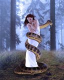 Snake And Lady In White