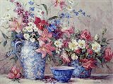 Flowers and Blue Porcelain