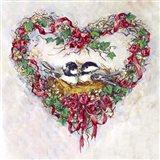 Pair 2 Birds and a Heart Wreath