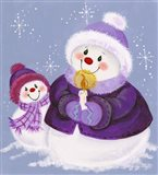 Snowmen In Purple With Candle