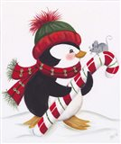 Penguin With Mouse On A Candy Cane