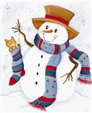 Snowman With Cat In Stocking