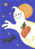 Ghost With Pumpkin And Orange Moon