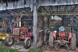 Two Red  Tractors