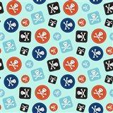 Pirate Badge Pattern Blue