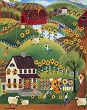 Primitive Quilt Maker House Sunflower Sheep