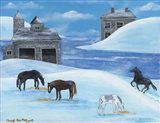 Horses In Snow By River Folk Art