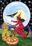 Red Witch Halloween Moon