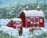 Winter Horses by Red Barn