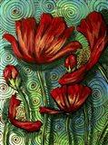 Red Poppies & Swirls