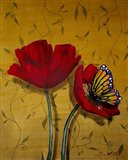 Red Poppies With Yellow Butterfly