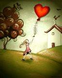 Girl Flying a Heart Balloon